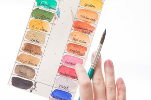 Color names palette hand brush