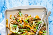 Chicken stir fry with peppers, beans
