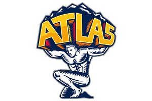 Atlas Lifting Mountain Kneeling