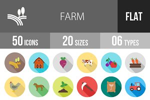 50 Farm Flat Shadowed Icons