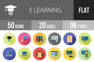 50 E Learning Flat Shadowed Icons