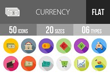 50 Currency Flat Shadowed Icons