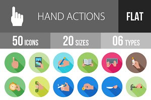 50 Hand Actions Flat Shadowed Icons