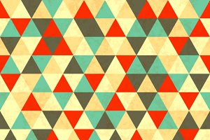 Colourful triangles retro pattern