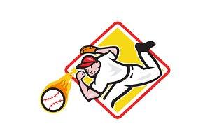 Baseball Pitcher Throwing Fire Ball
