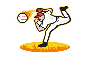 Baseball Pitcher Throwing Ball