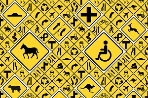 Yellow road signs seamless pattern