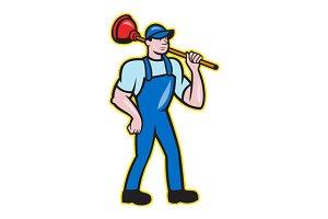 Plumber Holding Plunger Standing