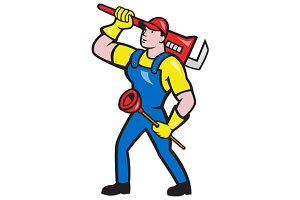 Plumber Carrying Wrench Plunger