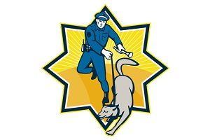 Policeman Police Dog Canine Team
