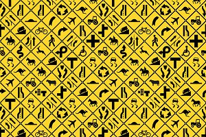 Road signs seamless pattern