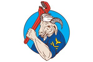 Navy Goat Holding Pipe Wrench