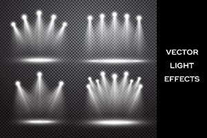 Stage lights. Vector effects set