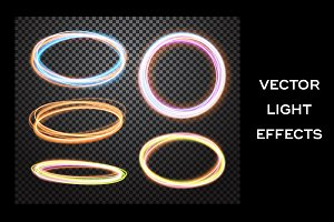 Round light trail. Vector effects