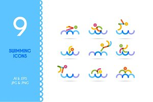 Swimming / Swimming man icons
