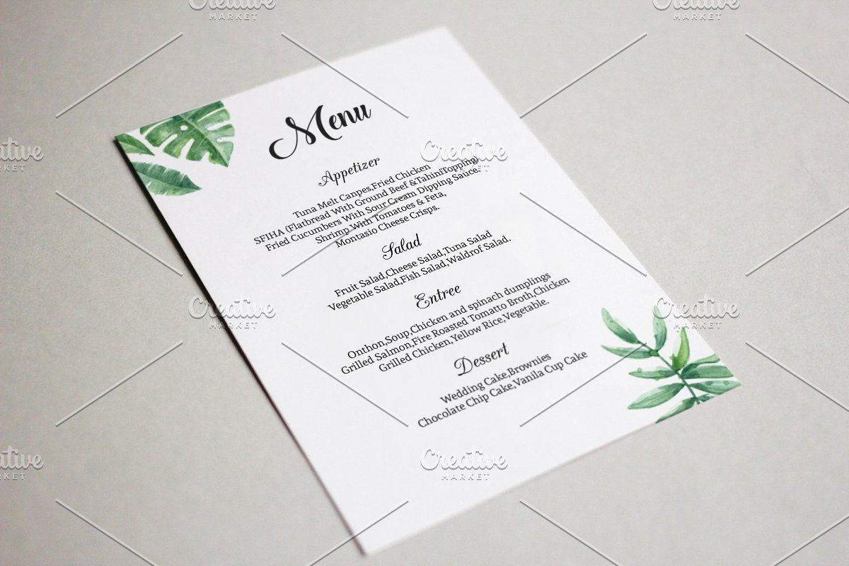 Wedding Menu Template.Printable Wedding Menu Template