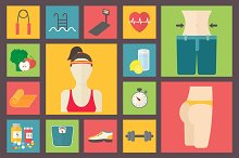 Fitness and weight loss icons set