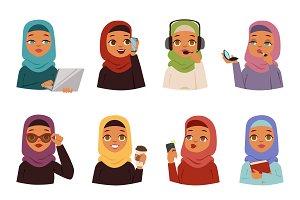Arabic woman vector set