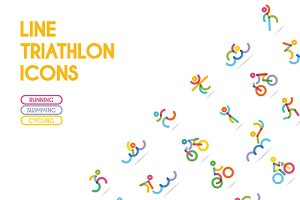 Triathlon Icons-swim, run, cycle