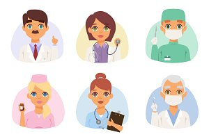 Doctors spetialists vector set
