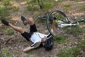 mountain biker accident on the mountain running