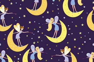 Seamless pattern with colorful fairy