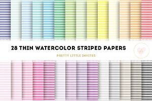 Watercolor Thin Striped Papers