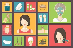 Spa salon and wellness icons set