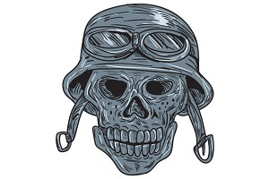 Skull Biker Helmet Drawing