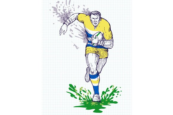 Rugby Player Running Passing Ball in Illustrations