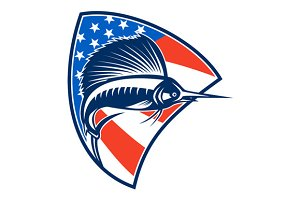 Sailfish Fish Jumping American Flag