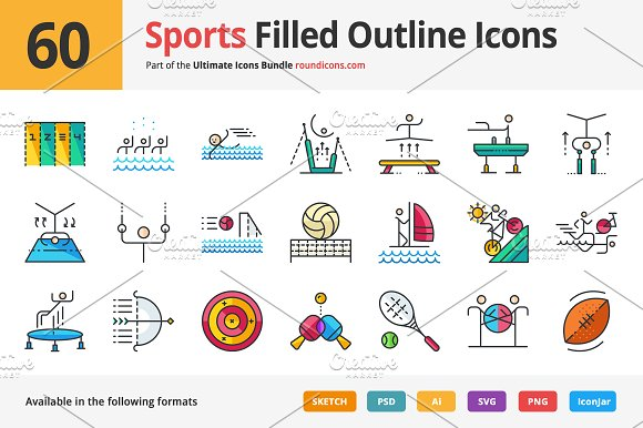 60 Sports Filled Outline Icons