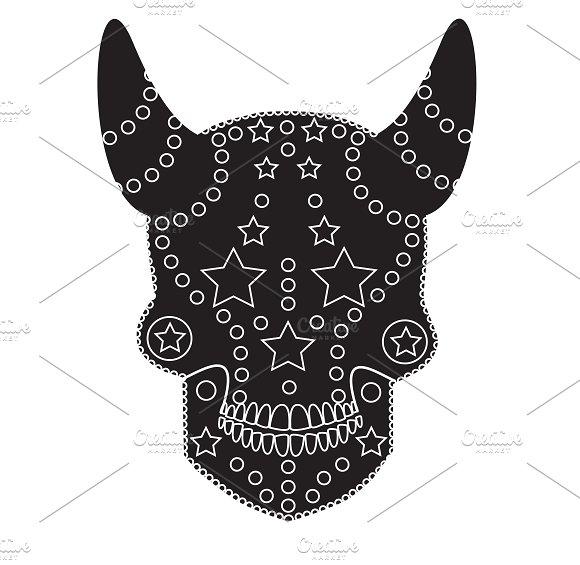 Devil skull ornament black vector