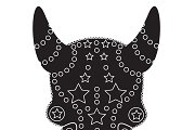 Devil skull ornament black vector