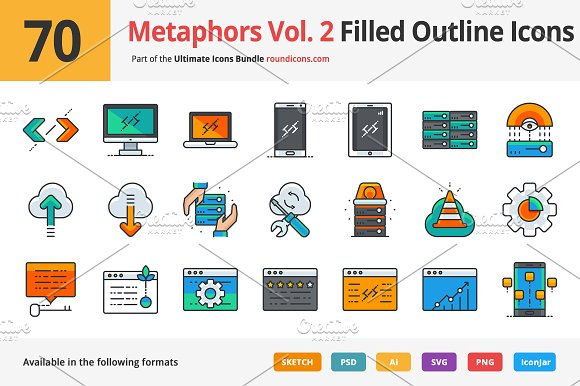 70 Metaphors Vol. 2 Filled Icons - Icons