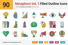 90 Metaphors Vol. 1 Filled Icons