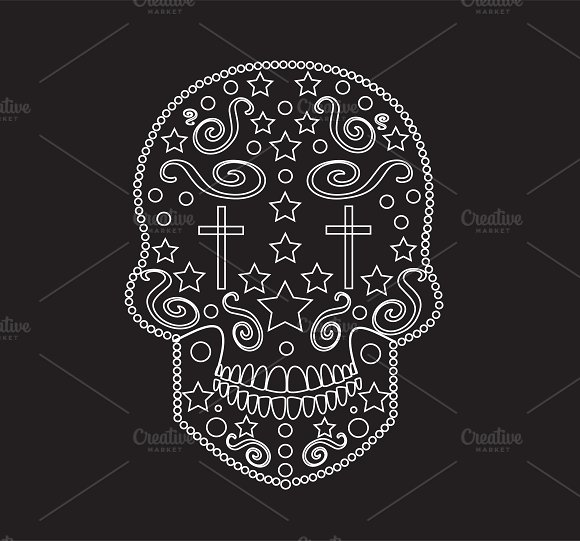 Skull ornament with crosses