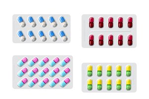 Set of various packed pills