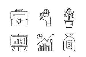 Sketched financial iconset