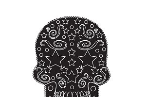 Skull icon ornament with stars