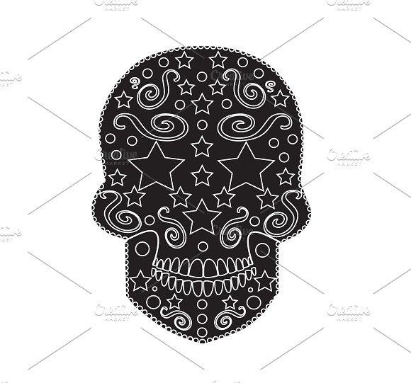 Skull icon ornament with stars