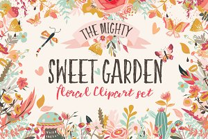 Sweet Garden Floral Clipart Bundle