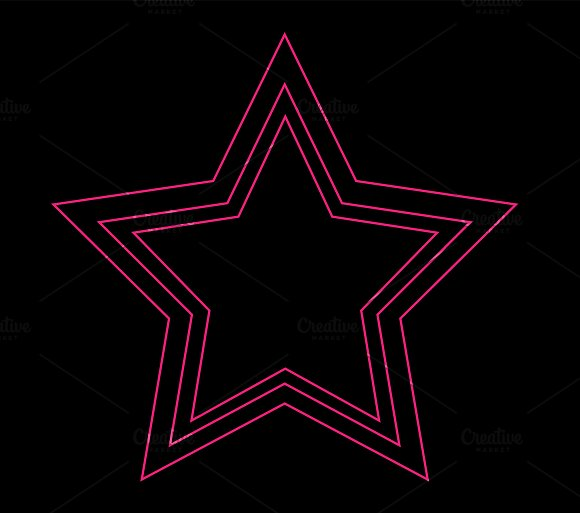 Star icon neon pink color in Icons