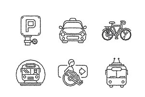 Sketched public transport iconset