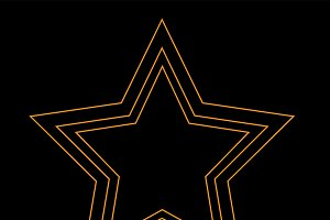 Star icon neon orange color