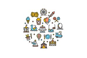 Amusement Park Round Icon