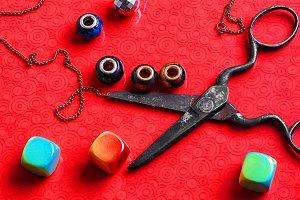 Scissors and beads