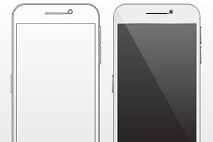 Outline and realistic smartphone