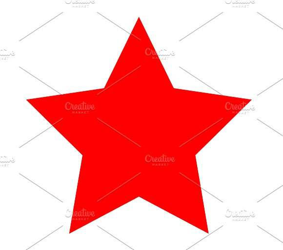 Star icon red color flat