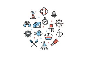 Nautical Sea Round Icon